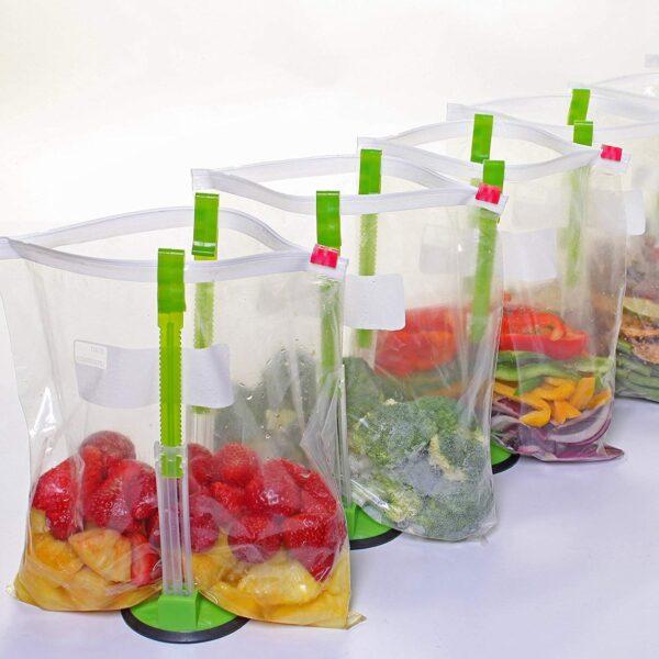 2 Piece Baggy Rack Hands Free Clip Food Storage Freezer Baggy Holder Bag Holder For Plastic 5
