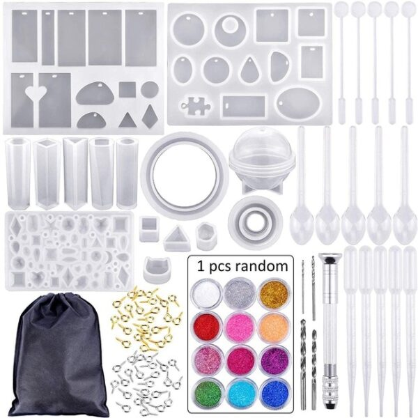 83 Pieces Silicone Casting Molds And Tools Set With A Black Storage Bag For Diy