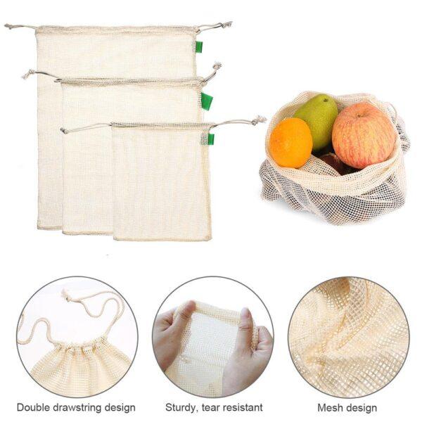 9 pcs Organic Cotton Mesh Produce Bags Fruit Vegetable Storage Bag Drawstring Reusable Mesh Pack Home 2