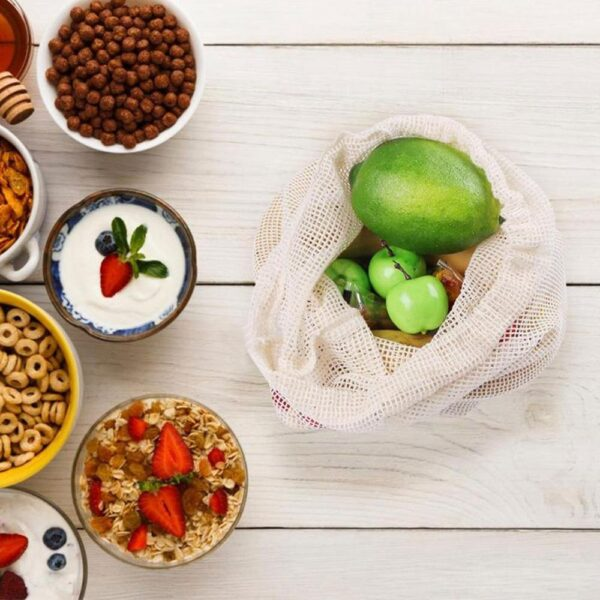 9 pcs Organic Cotton Mesh Produce Bags Fruit Vegetable Storage Bag Drawstring Reusable Mesh Pack Home 3