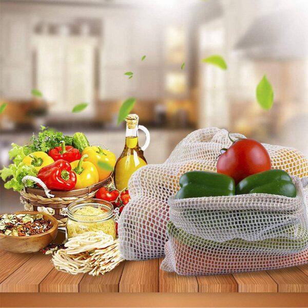 9 pcs Organic Cotton Mesh Produce Bags Fruit Vegetable Storage Bag Drawstring Reusable Mesh Pack Home 4