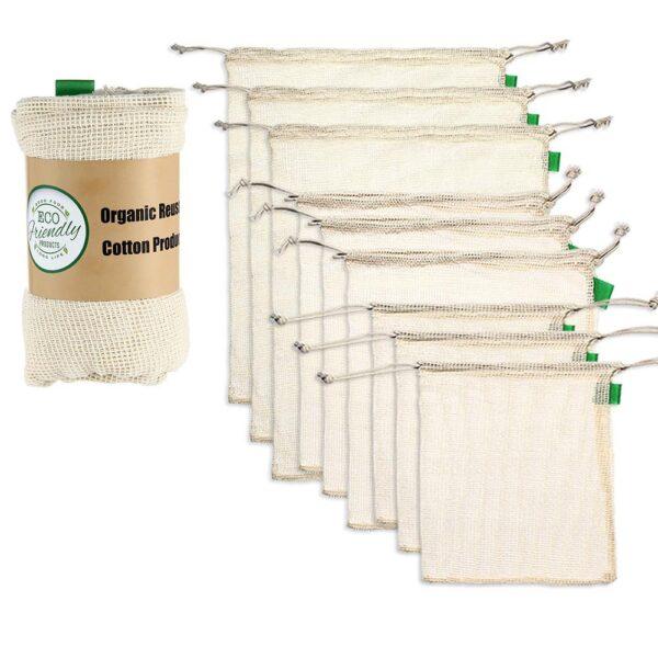 Reusable Cotton Mesh Produce Bags