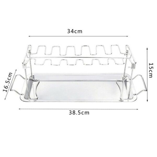 Chicken Duck Holder Rack Grill Stand Stainless Steel Chicken Wing Leg Rack Grill Holder with Drip 5