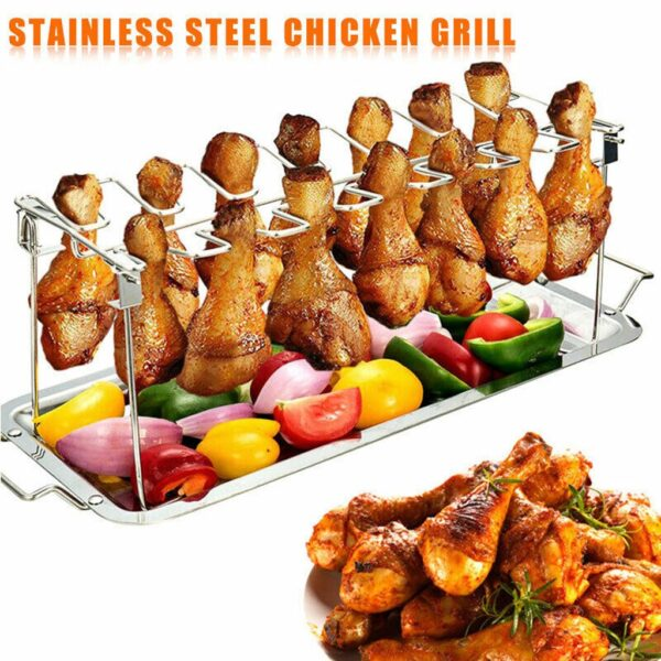 Chicken Duck Holder Rack Grill Stand Stainless Steel Chicken Wing Leg Rack Grill Holder with Drip