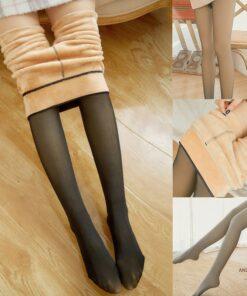 Fake Translucent Warm Fleece Pantyhose