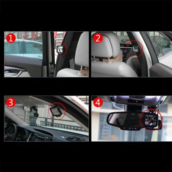 New Durable Adjustable 270 Degree Wide angle Lens Design Car Rear Seat Rearview Mirror Backseat Blind 4