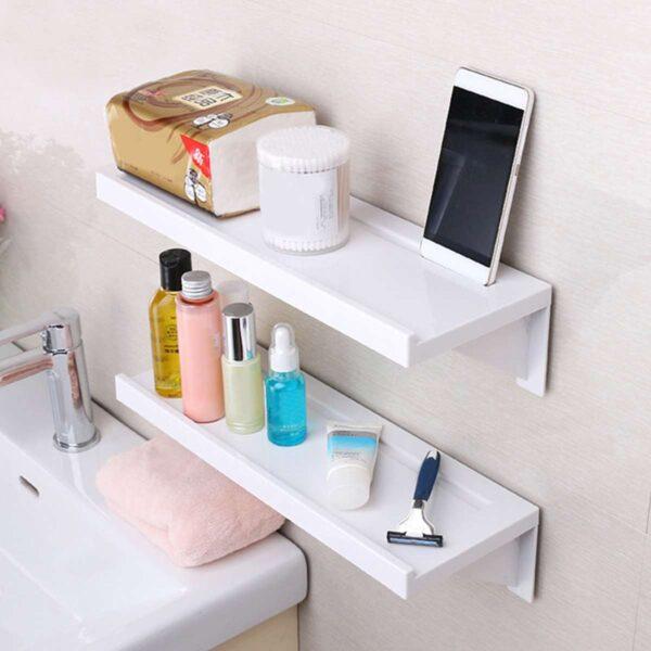 Single Tier Suction Cup Bathroom Shelf Wall Rack Plastic Shower Caddy Organizer Holder Tray Kitchen Lotion 2