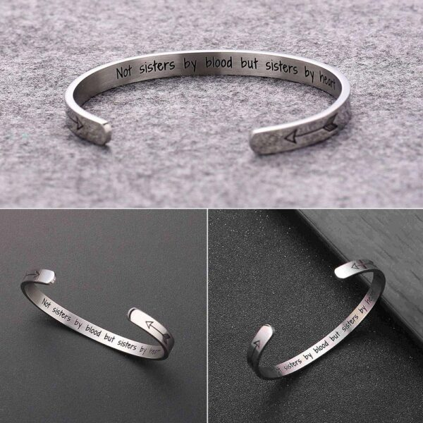 Sister Bracelets Bangles Jewelry Stainless Steel Polished Cuff Bangle Wrist for Women 5