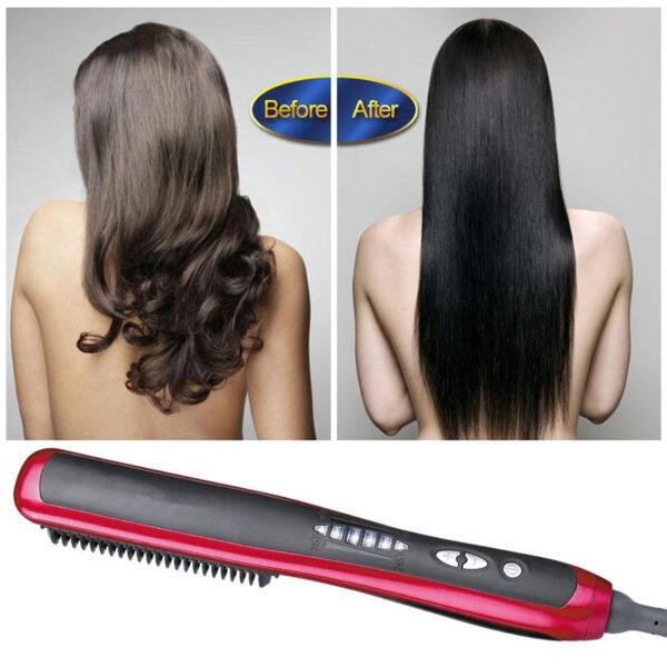 Multifunctional Beard Straightener Styler Brush Men Heat Hair Ceramic Curler Electric Straightener Hot Comb Hair Care 1