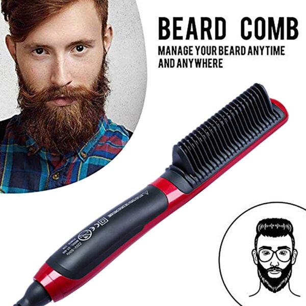 Multifunctional Beard Straightener Styler Brush Men Heat Hair Ceramic Curler Electric Straightener Hot Comb Hair Care 5