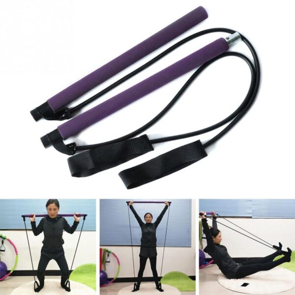 Portable Elastic 2 Foot Loops Lightweight Trainer Pilates Bar Gym Stick With CD 2