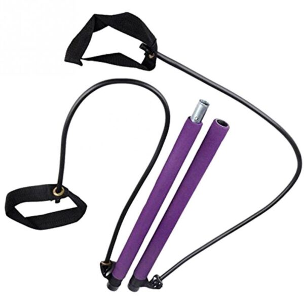 Portable Elastic 2 Foot Loops Lightweight Trainer Pilates Bar Gym Stick With CD 3