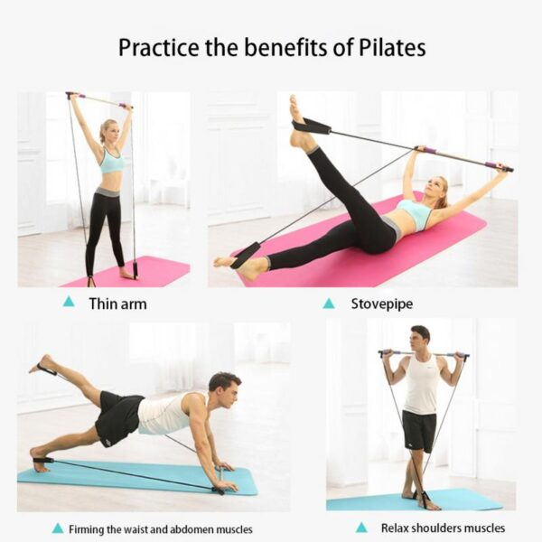 Portable Elastic 2 Foot Loops Lightweight Trainer Pilates Bar Gym Stick With CD 4
