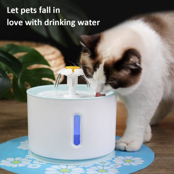 2 4L Cat Dog Water Fountain Automatic LED Electric USB Dog Pet Mute Drinker Feeder Bowl 1