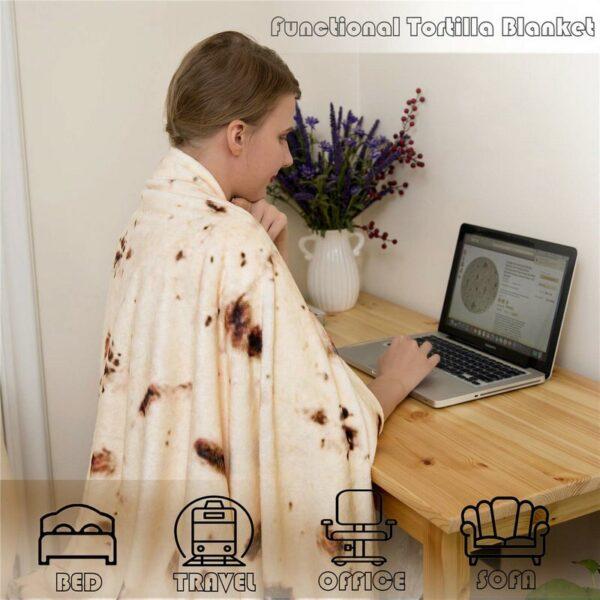 Burritos Tortilla Blanket Soft and Comfortable Giant Round Beach Blanket Novelty Soft Flannel Food Tortilla Blanket 1