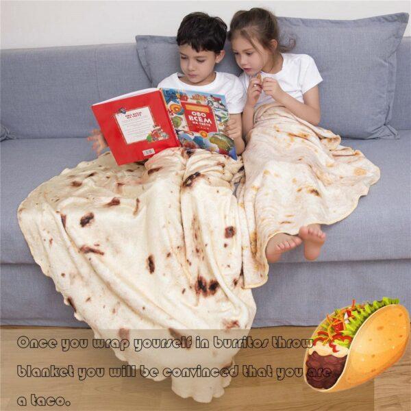 Burritos Tortilla Blanket Soft and Comfortable Giant Round Beach Blanket Novelty Soft Flannel Food Tortilla Blanket 4