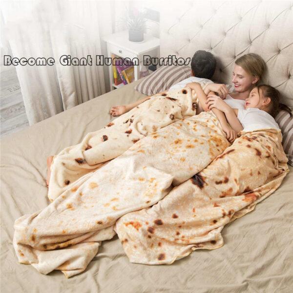 Burritos Tortilla Blanket Soft and Comfortable Giant Round Beach Blanket Novelty Soft Flannel Food Tortilla Blanket