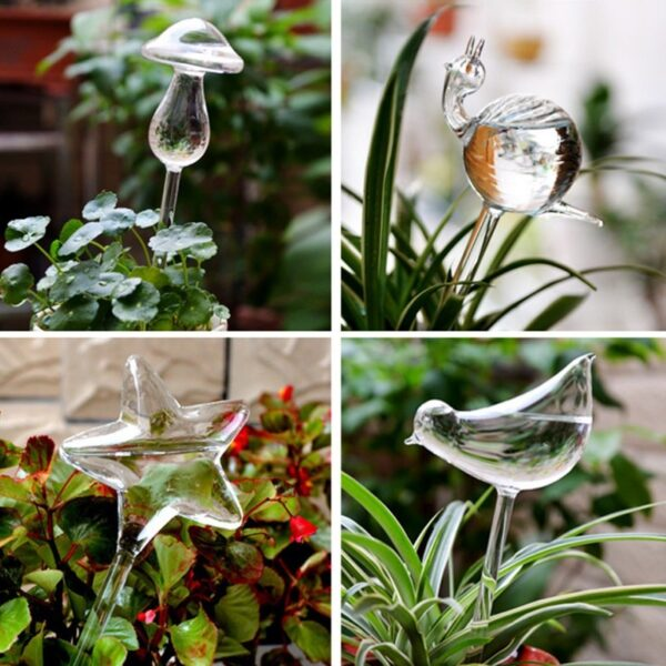 12 Shapes Glass Automatic Self Watering Bird Watering Cans Flowers Plant Decorative Clear Glass Watering Device 1