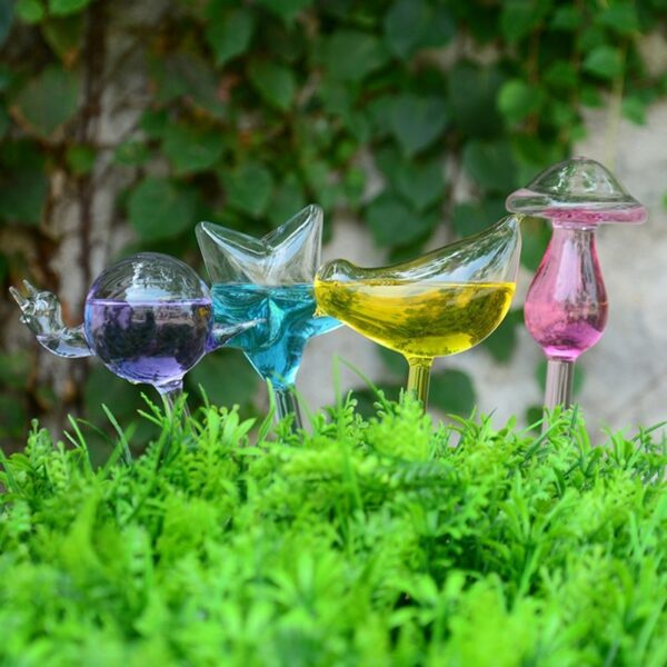 12 Shapes Glass Automatic Self Watering Bird Watering Cans Flowers Plant Decorative Clear Glass Watering Device 3