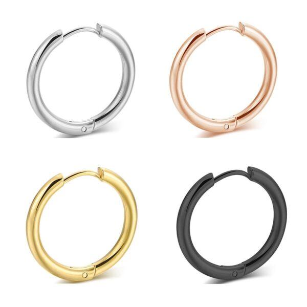 Anting-anting 2PC Set Stainless Steel Hoop Leutik pikeun Awéwé Lalaki Emas Hideung Lingkaran Anting Cincin Ceuli 2