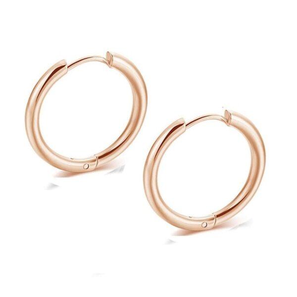 2PC Set Pendentes de aro pequenos de aceiro inoxidable para mulleres, homes Pendentes de anel de círculo de ouro negro 2.jpg 640x640 2
