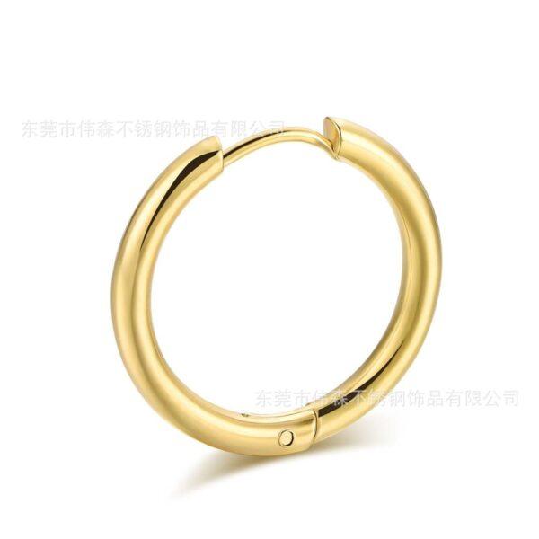 Pendentes de aro pequenos de aceiro inoxidable de 2 unidades para mulleres, pendentes de anel de orella de círculo negro dourado 3