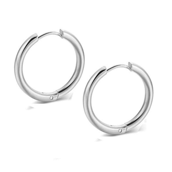 2PC Set Pendentes de aro de aceiro inoxidable pequenos para mulleres Homes Anel de ouro círculo negro dourado