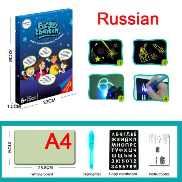 A3 A4 A5 Magic Luminous Drawing Board Draw With Light Fun Sketchpad Board Fluorescent Pen Russian 1 1.jpg 640x640 1 1