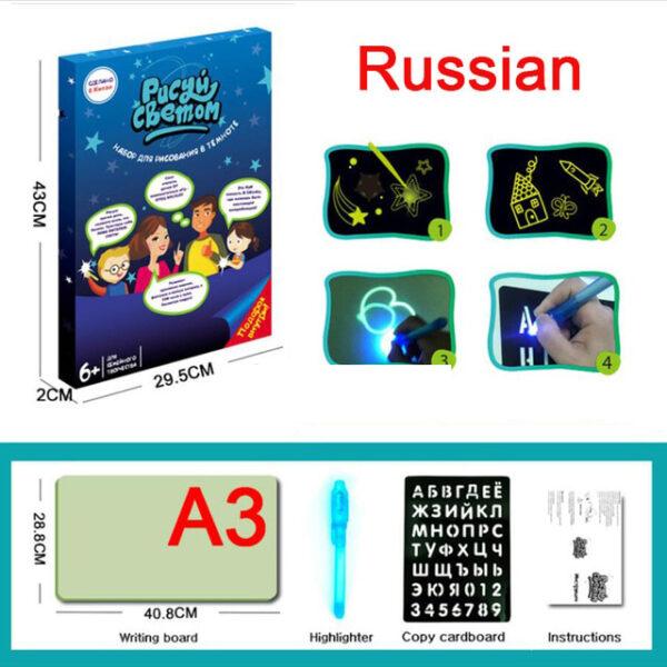 A3 A4 A5 Magic Luminous Drawing Board Draw With Light Fun Sketchpad Board Fluorescent Pen Russian 2 1.jpg 640x640 2 1