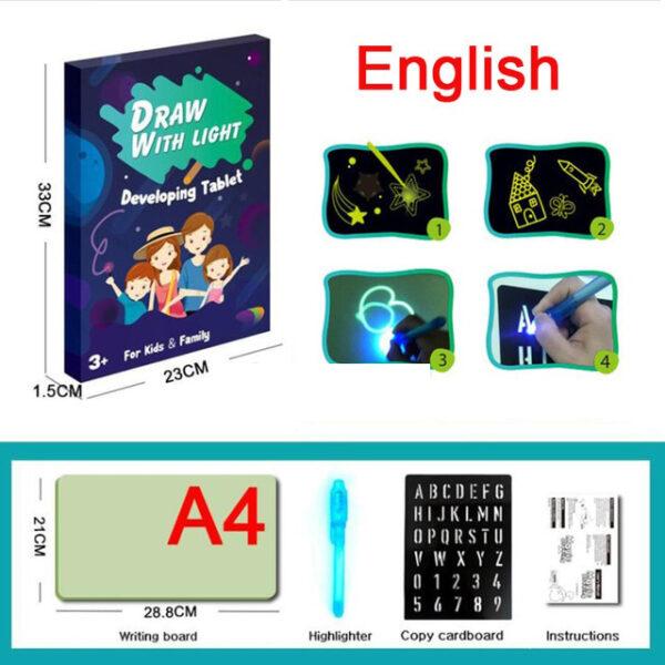 A3 A4 A5 Magic Luminous Drawing Board Draw With Light Fun Sketchpad Board Fluorescent Pen Russian 4 1.jpg 640x640 4 1