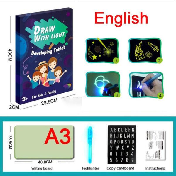 A3 A4 A5 Magic Luminous Drawing Board Draw With Light Fun Sketchpad Board Fluorescent Pen Russian 5 1.jpg 640x640 5 1