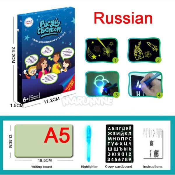 A3 A4 A5 Magic Luminous Drawing Board Draw With Light Fun Sketchpad Board Fluorescent Pen Russian 7.jpg 640x640 7