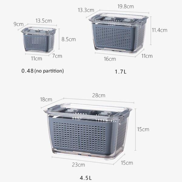 Multifunctional Food Storage Box Fresh keeping Box Plastic Wash Fruit And Vegetable Drain Basket Kitchen Refrigerator 11