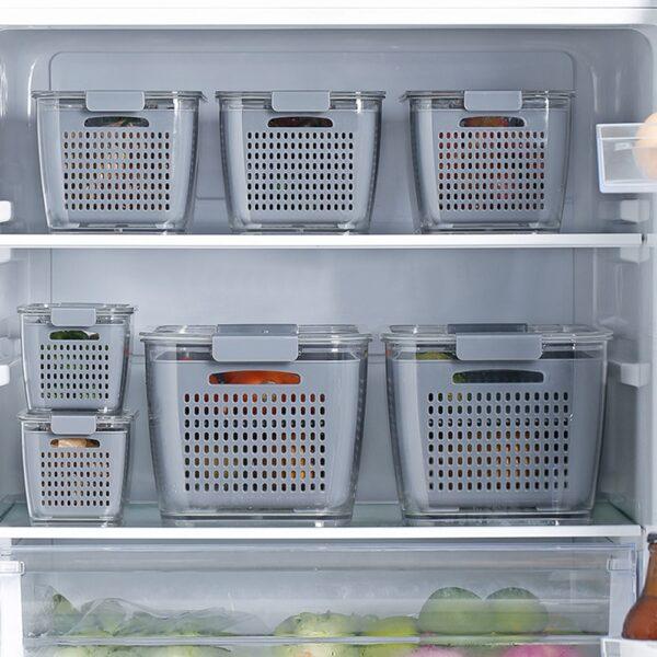 Multifunctional Food Storage Box Fresh keeping Box Plastic Wash Fruit And Vegetable Drain Basket Kitchen Refrigerator 6