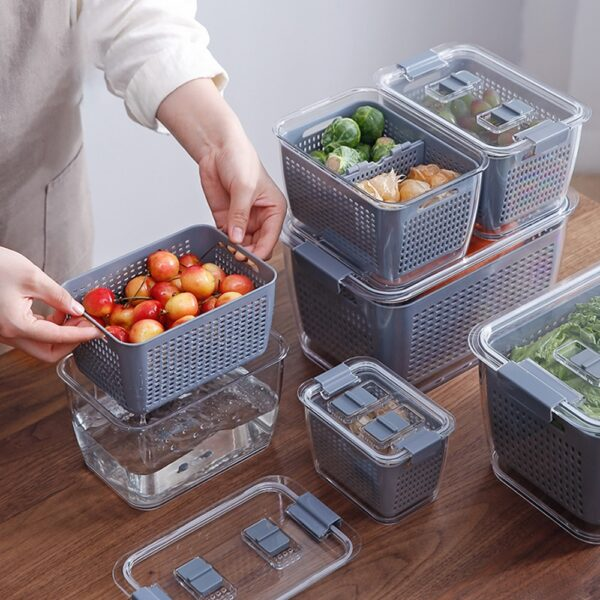 Multifunctional Food Storage Box Fresh keeping Box Plastic Wash Fruit And Vegetable Drain Basket Kitchen Refrigerator 7