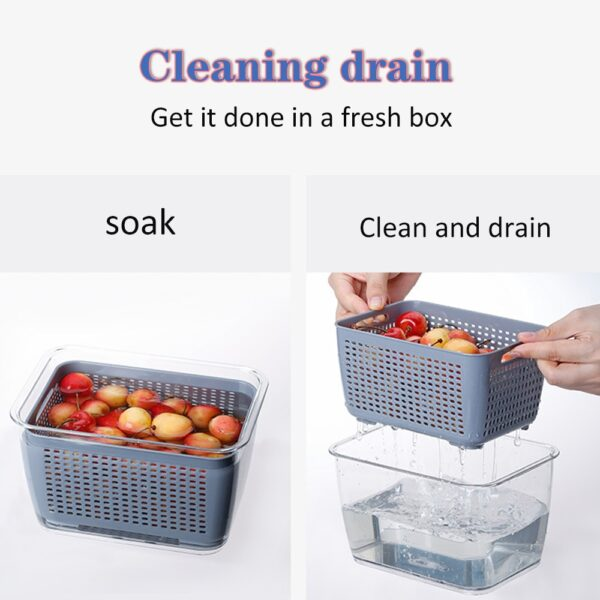 Multifunctional Food Storage Box Fresh keeping Box Plastic Wash Fruit And Vegetable Drain Basket Kitchen Refrigerator 9