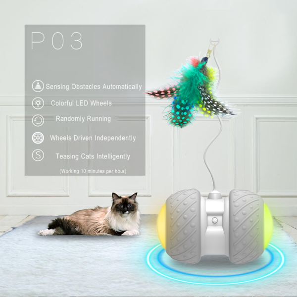 Electronic Pet Cat Toy Smart Automatic Cat Teaser with LED Wheels Rechargeable Flash Rolling Colorful Light