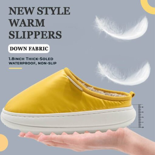 Down Fabric Thick-Soled Warm Slippers, Down Fabric Thick-Soled Warm Slippers