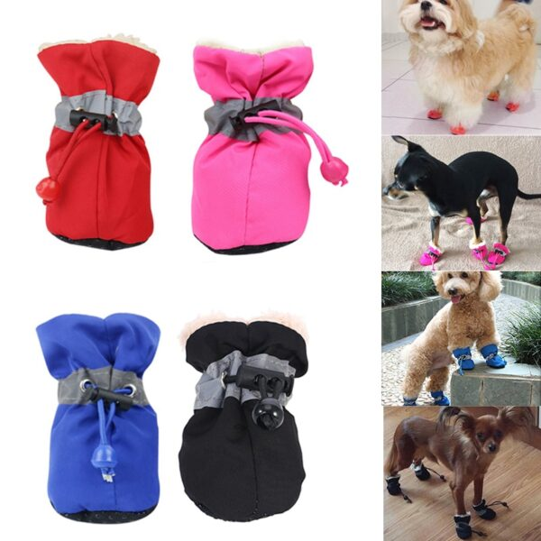 4 pieces set of new winter reflective warm pet shoes dog snow boots non slip waterproof