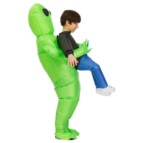 Πράσινο εξωγήινο που φέρει ανθρώπινη φορεσιά Φουσκωτό αστείο Blow Up κοστούμι Cosplay για πάρτι NOV99 1