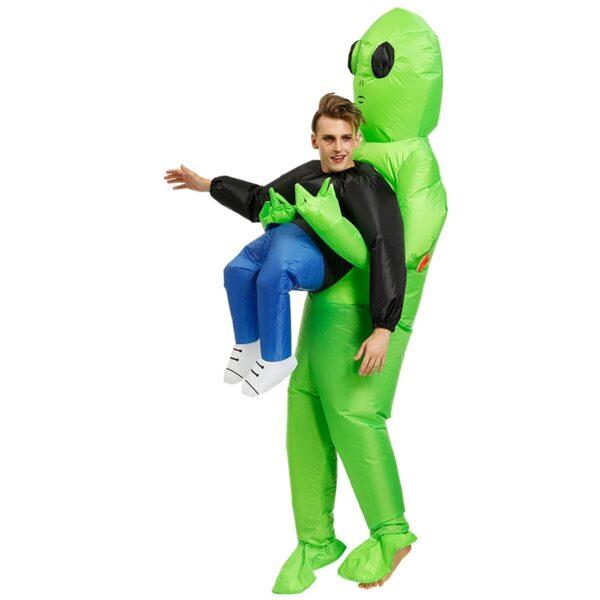 Πράσινο εξωγήινο που φέρει ανθρώπινη φορεσιά Φουσκωτό αστείο Blow Up κοστούμι Cosplay για πάρτι NOV99 2