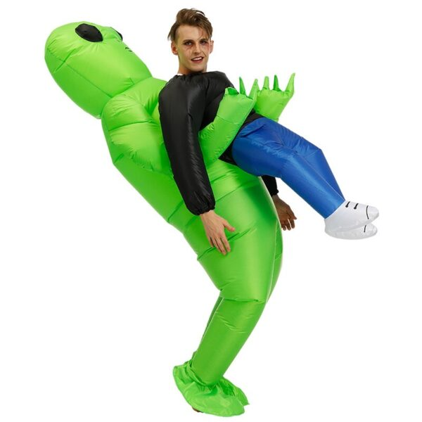 Πράσινο εξωγήινο που φέρει ανθρώπινη φορεσιά Φουσκωτό αστείο Blow Up κοστούμι Cosplay για πάρτι NOV99 3