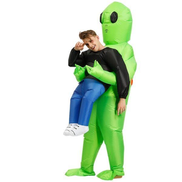 Πράσινο εξωγήινο που φέρει ανθρώπινη φορεσιά Φουσκωτό αστείο Blow Up κοστούμι Cosplay για πάρτι NOV99 4
