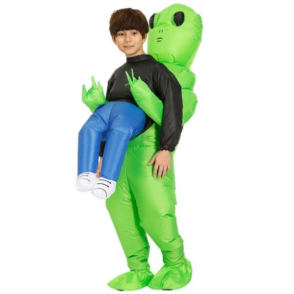 Πράσινο εξωγήινο που φέρνει ανθρώπινο κοστούμι φουσκωτό αστείο Blow Up κοστούμι Cosplay για πάρτι