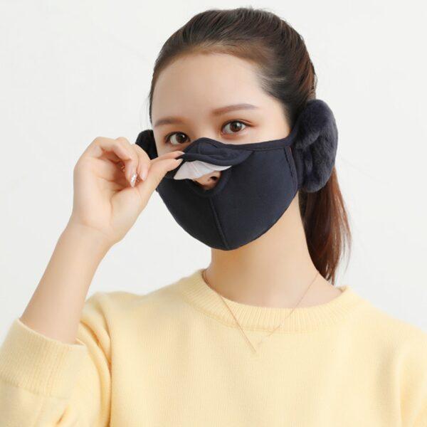 Men Women Winter Two in one Earmuffs Warm Mask Dust proof Cold proof Riding Ear Muff 1
