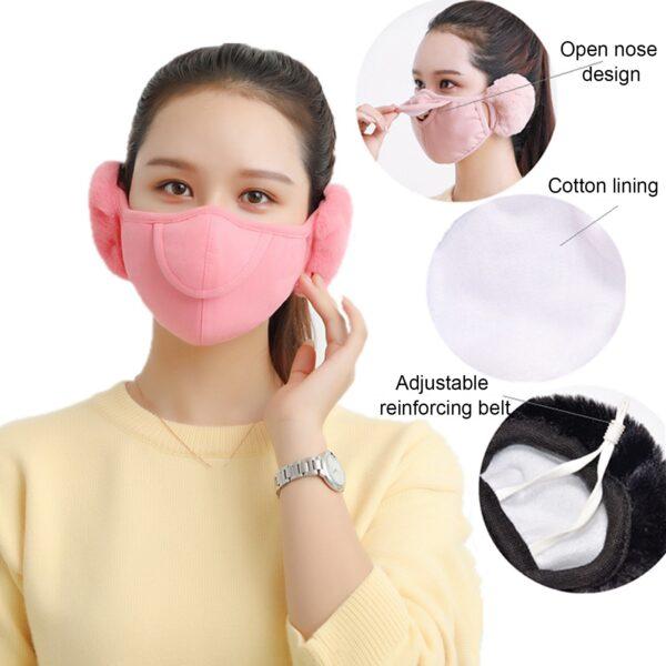 Men Women Winter Two in one Earmuffs Warm Mask Dust proof Cold proof Riding Ear Muff 3