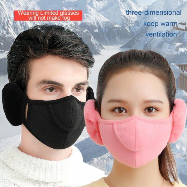 Men Women Winter Two in one Earmuffs Warm Mask Dust proof Cold proof Riding Ear Muff