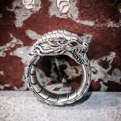Silver Color Simulation Dragon Steampunk Ring For Wedding Party Gift Romantic Hi Hop Zinc Alloy Vintage 4
