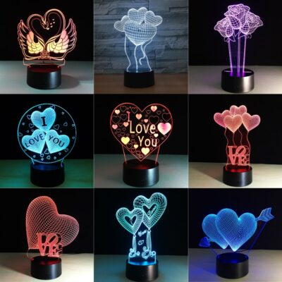 Valentines Day Gift 3D LED Night Light 7 Colors Table Lamp Home Decor Bulb Touch Sensor 6