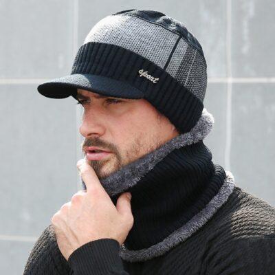 Winter Hats For Men Skullies Beanie Hat Winter Cap Men Women Wool Scarf Caps Set Balaclava